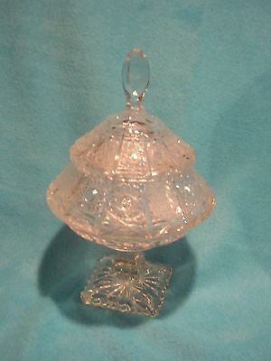 Vintage Cut Glass Compote Dish with Lid, Nice Heavy Glass