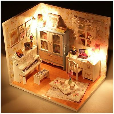 Cute DIY Handcraft Miniature Dolls House - Wooden Dollhouse & Lights - Fast Post
