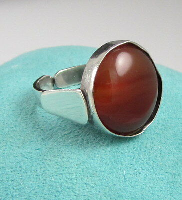 Estate Vintage ISRAEL Huge Modern Sterling Silver Cabochon Orange Carnelian Ring
