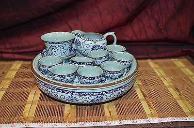 Chinese Blue and Grey Porcelain Tea Set with 8 Cup & Double Deck Tray Marked