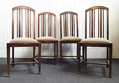 Antique set of rail back dining chairs with drop in seats