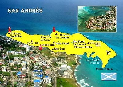 Colombia San Andres Island Map New Postcard