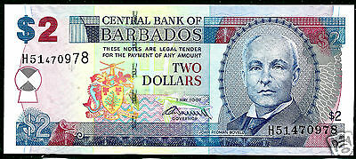 Barbados P66b 2007 2 Dollars Crisp Uncirculated