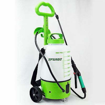 Spargo 8 Litre Garden Pressure Electric Rechargeable Sprayer Wheels Chemical