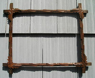 Antique Aged Victorian Adirondack Black Forest Leaf Corner Picture Frame 12 3/4~