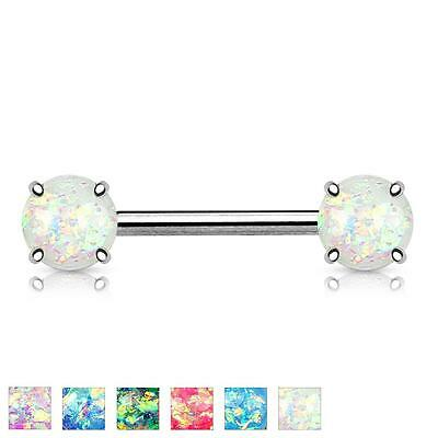 Pair of 14GA 9/16 Opal Glitter Front Facing Prong Set Surgical Steel Nipple F117