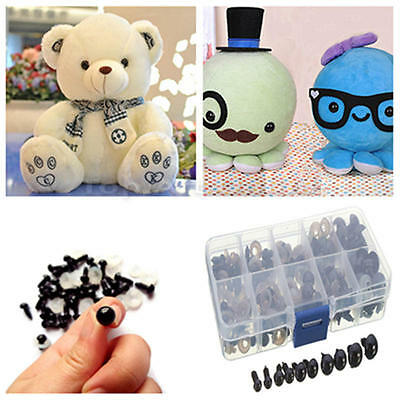 100pcs Black Plastic Safety Eyes for Teddy Plush Doll Puppet DIY Craft 6-12mm