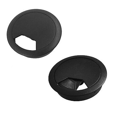 2 Pcs 50mm Diameter Desk Wire Cord Cable Grommets Hole Cover Black HY