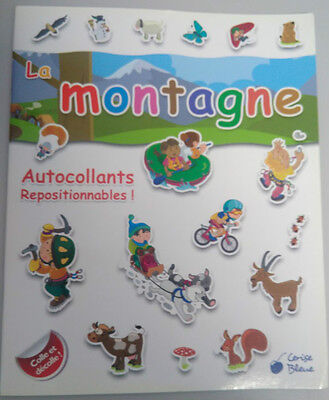 Livre avec autocollants repositionnables La montagne Collection Cerise Bleue