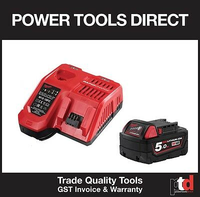New Milwaukee 18V Cordless M12-18Fc Fast Battery Charger & M18B5 5Amp Battery