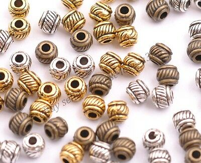 Tibetan Silver & Gold & Bronze , Loose Charms Spacer Beads 6X5MM BE3010