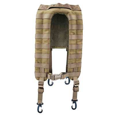 Bulldog 4 Point MOLLE Military Army Webbing Yoke Harness with Clips Coyote Tan