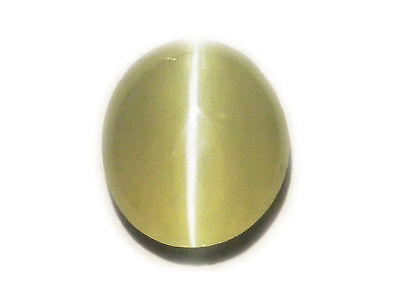 0.89 Cts Loose Natural Oval Cut Light Green Chrysoberyl Cats Eye Gemstone-17869