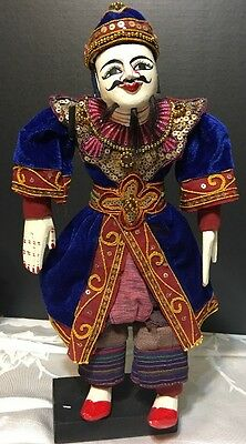Oriental Vintage Puppet Marionette Collectible With Stand 14""