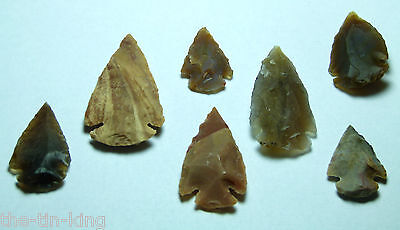 Job Lot X7 Arrowheads Reproduction Copy Of Neolithic Flints Jasper Stone Age