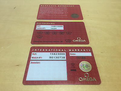 OMEGA International Warranty Card + Pictograms Card + Warranty Extension Card