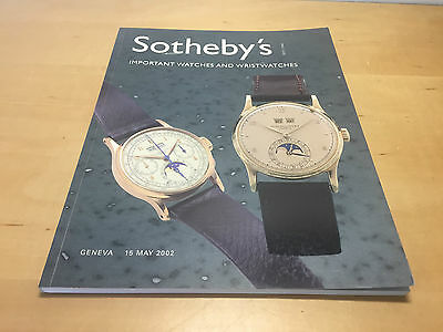 Magazine SOTHEBY'S - Important Watches & Wristwatches - Geneva 15 May 2002 - ENG