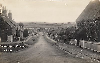 Rockingham Village, Northants, Real photo, old postcard, posted 1927