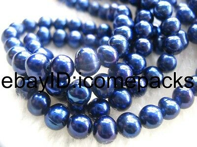 "amazing freshwater pearl deep blue near round 6-7mm 15"" wholesale nature beads"