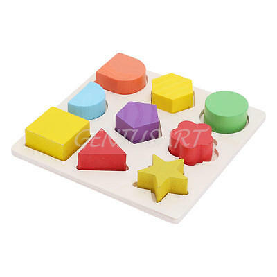 Kids Baby Wooden Geometry Block Puzzle Montessori Early Learn Educational Toys A