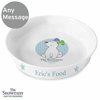 BB Personalised The Snowman Snowdog Blue Cat Dog Pet Bowl Gift Food Water Treats