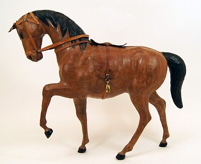"""Leather Chestnut Brown Horse Figure Statue Equestrian 17"""" Glass Eyes Saddle EUC"""