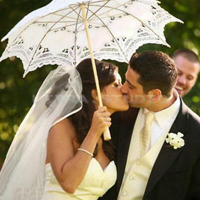 Chic Women Lace Wooden Umbrella Handmade Parasol WeddingParty Bridal Bride Decor
