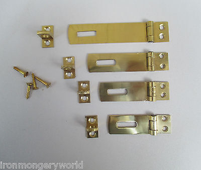 Solid Brass Vintage retro Safety Hasp and Staple cupboard Door Latch Lock