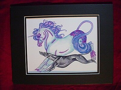 Print of Stylized watercolor Whippet Greyhound Unicorn #38 Cindy A. Conter
