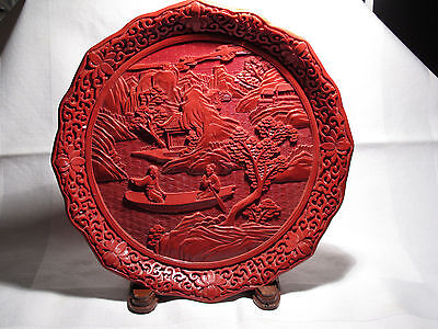 "Large 9.5"" Vintage/Antique Chinese Carved Cinnabar Lacquer Plate Romantic - EX++"