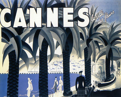 Poster Cannes The City Of Flowers French Riviera Travel Vintage Repro Free S/H