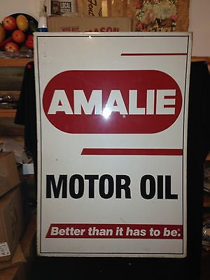 """35 1/4"""" Double Sided Amalie Motor Oil Sign"""