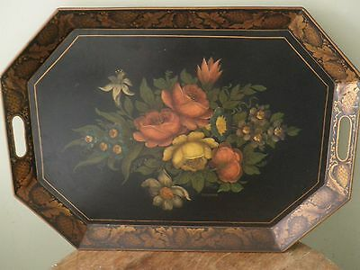 "Antique Tole Tray - Floral Center & Gold Border - 23"" x 17""  - Signed Feurer"