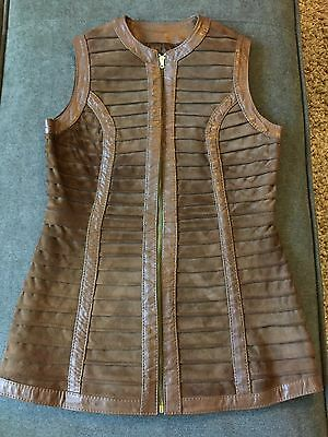 Vintage Small Vest Leather World Knit Carroll's Brown