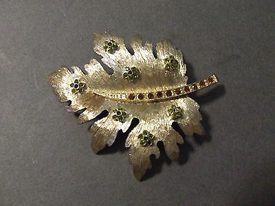 Vintage Red Green Rhinestone Brushed Goldtone Leaf Pin (M)