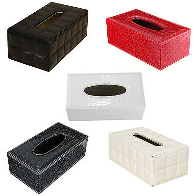 Durable Home Car Rectangle PU Leather Tissue Box Paper Holder Case Cover HY