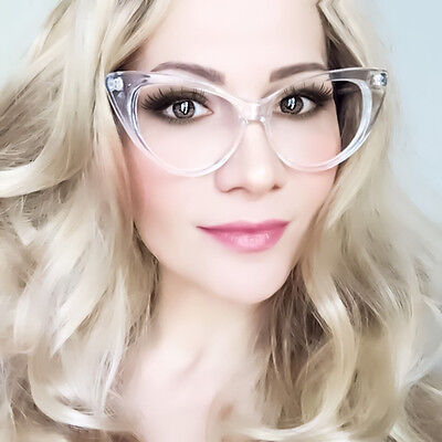 Vintage Style Womens Nikita Fashion Cat Eye Clear Frame Clear Lens Glasses