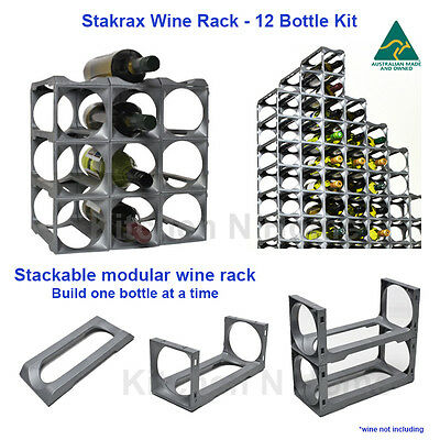 Stakrax modular wine rack-12 Bottle Kit,  Stackable, Wine Storage,Australia Made