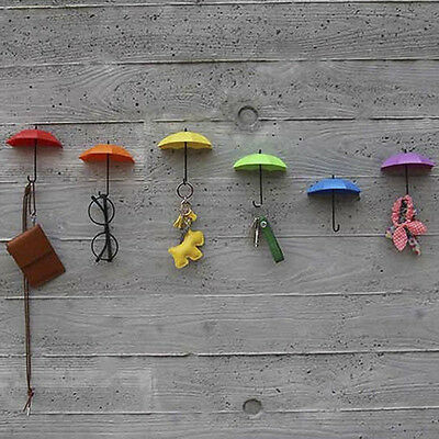 3PCs Creative Umbrella Shape Wall Mount Hook Key Holder Hanging Hooks