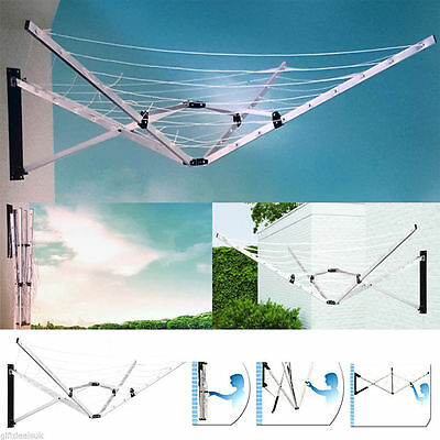 New 5 Arm 26M Wall Mounted Folding Cloth Airer Dryer Washing Line Outdoor Garden