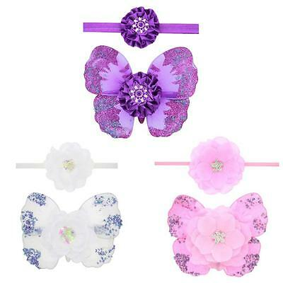 Butterfly Wing Flower Newborn Baby Girl Costume Headband Photo Photography Prop