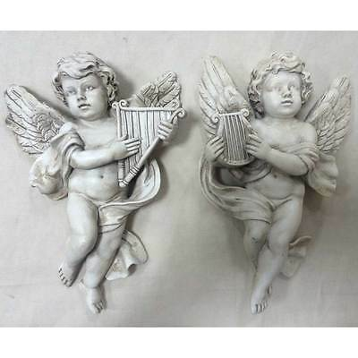 Antique Cherub Pair Ornament Harps Angel Sculpture Vintage Stylish Baby 39705