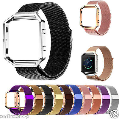 Milanese Magnetic Stainless Steel Watch Band + Metal Frame For Fitbit Blaze