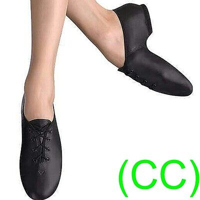 JAZZ DANCE SHOES Black Leather split suede sole pumps irish hard jig (CC)