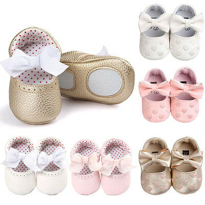 Newborn Infant Baby Girl Bowknot Anti-slip Soft Leater Christening Shoes Sneaker