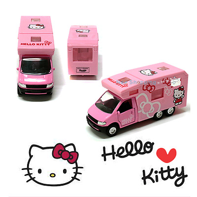 hello kitty camping car diecast volkswagen mini car figure model toy