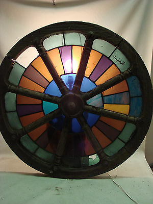 "Scarce Antique Wagon Wheel Style Stained Glass Window Circle 33.25"" Diameter"