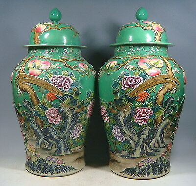 beautiful chinese famille rose porcelain incised a pair pots