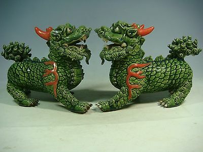 beautiful chinese green glaze porcelain a pair lions