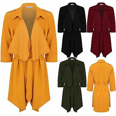 Ladies 3/4 Turn Up Sleeve Open Front Waterfall Tie Waist Duster Jacket Blazer